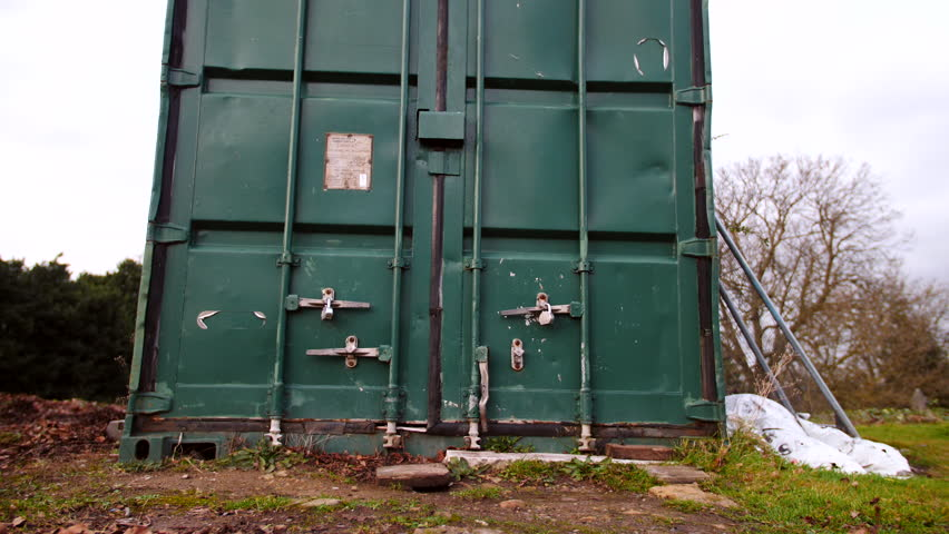 One Green Shipping Container On Its Own, 40ft Metal Self Storage Lock Up    4K