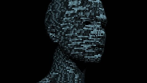 Virtual Girl made of digital data.
