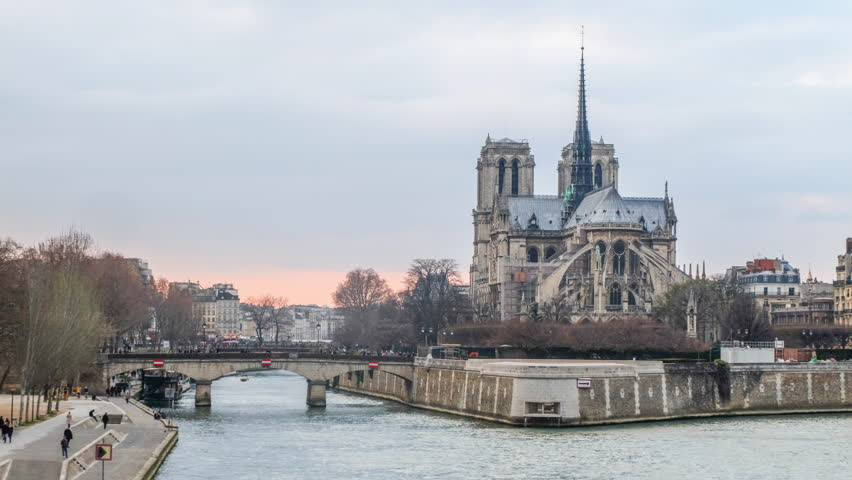 Time lapse Cityscape of Paris - Sunset on Notre Dame and Seine River | Shutterstock HD Video #1007245870
