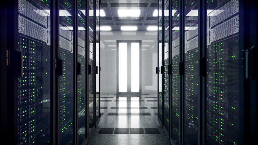 Servers racks walkthrough in Modern data center. Cloud computing datacenter server room. Cloud computing data storage 3d rendering. 4k UHD animation | Shutterstock HD Video #1007253280