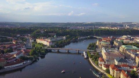Czech Republic Prague Aerial v5 Flying low over Vltava River area cityscape views 8/17