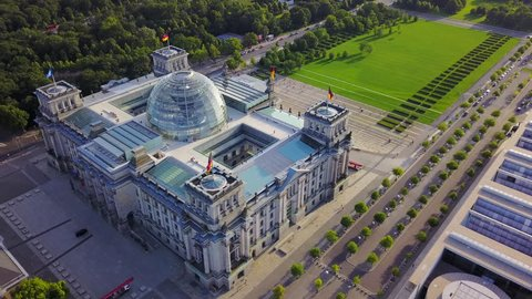 Germany Berlin Aerial v20 Birdseye flying low around Reichstag building sunset 8/17
