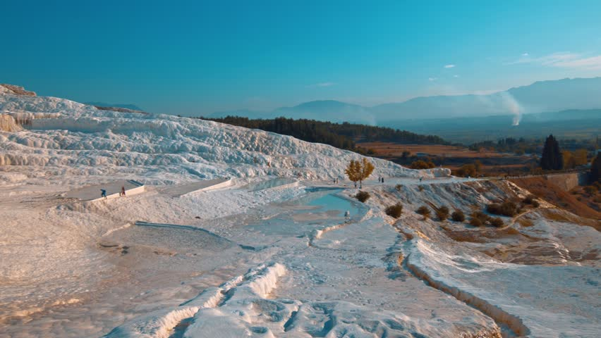 Beautiful panorama of Pamukkale in the autumn evening at the end of October. Turkey