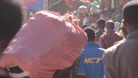 ETHIOPIA - CIRCA -2011: Timelapse, The Mercato, Ethiopia, Addis Ababa, Open Air Market, Africa,
