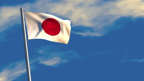 3D animation of a Japanese flag waving on a flagpole, bright blue animated sky and motion blur for dramatic effect.