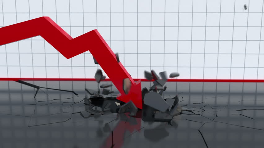 Falling chart breaks the bottom | Shutterstock HD Video #1007340160