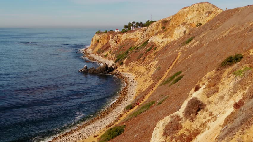 Flying along the coast and over the Palos Verdes Lighthouse. California. | Shutterstock HD Video #1007362450