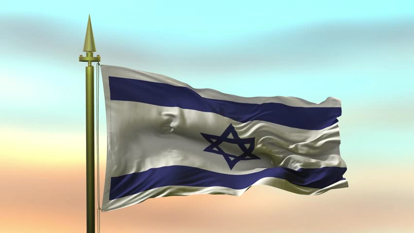 National Flag of  Israel waving in the wind against the sunset sky background slow motion Seamless Loop Animation
