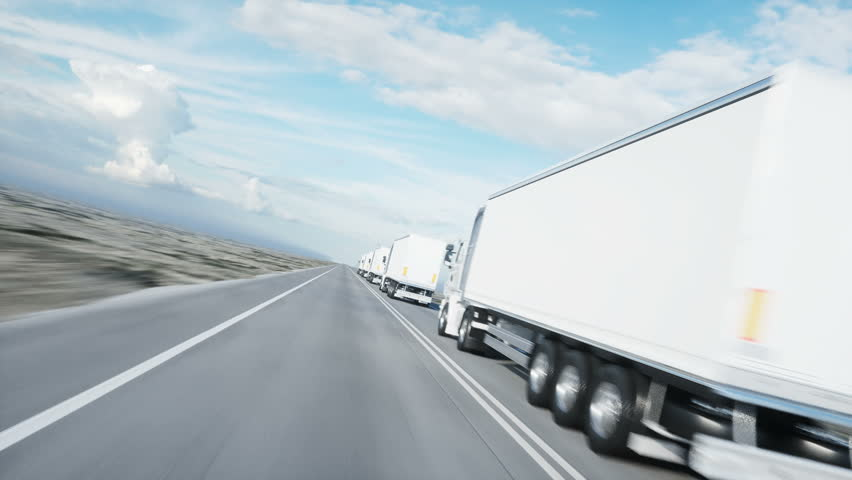 convoy of white trucks. semi trailer on the road, highway. Transports, logistics concept. 4K realistic animation.