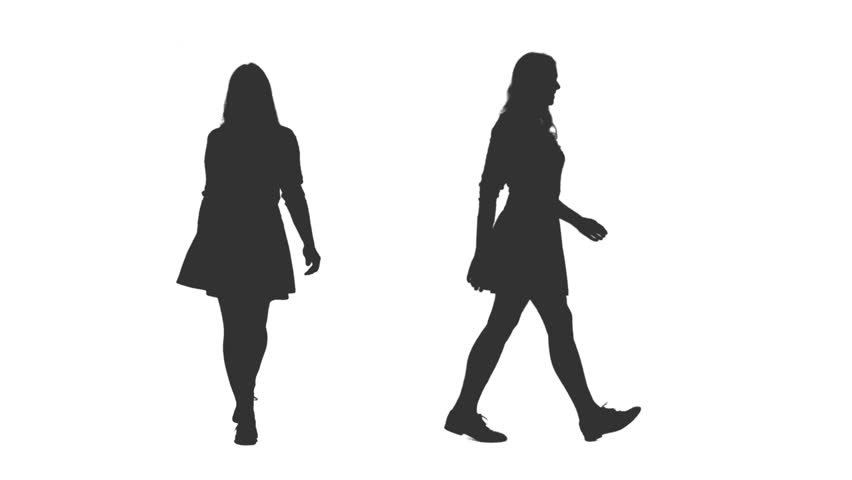 Female silhouette walking in mini skirt, 2 in 1, Front and side view, Full HD footage with alpha channel