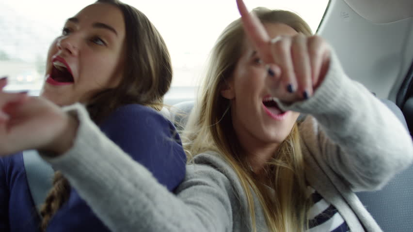 Funny Young Women Dance And Sing Together In Back Seat Of Moving Car - Shot On Red Scarlet-W Dragon In 4K/Slow Motion