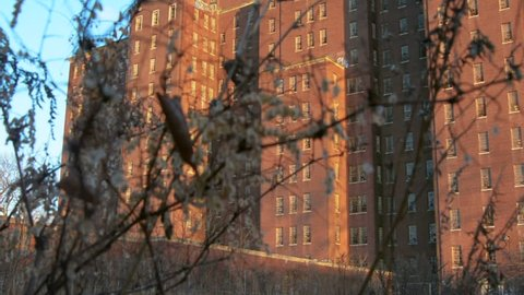 A sliding video shot of Building 93 in Kings Park Psychiatric Center on Long Island, NY.