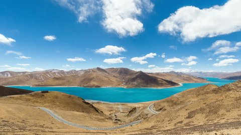 time lapse of  tibet holy lake with cloudscape,  beautiful yamdrok landscape in  tibetan plateau