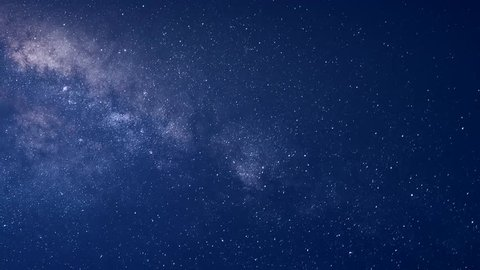 Time Lapse Beautiful Starry Movement In The Night Sky, Milky Way Time Lapse Stars Moving Across the Night Sky, Milky Way and Stars Moving Across the Night Sky, Time Lapse. Ultra HD, 4K.