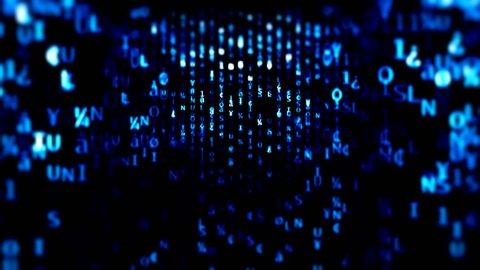 The Matrix style globe binary code environment Blue hexadecimal big data digital code. Futuristic information technology concept. Computer generated seamless loop animation Black blue matrix neon led