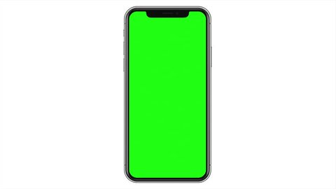 Blank Unbranded Modern Smartphone Mobile Cell Phone Green Screen White Isolated