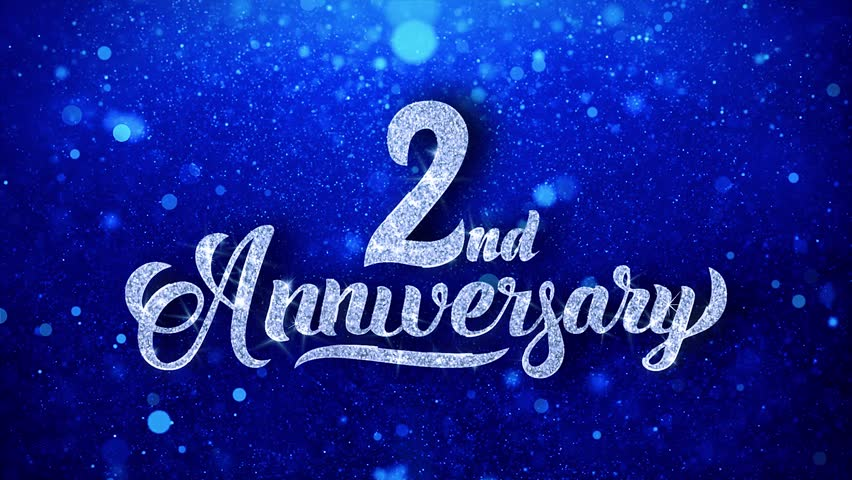 2nd Anniversary Greeting Shiny Text Wishes Blue Glitter Sparkling Glitter Glamour Dust Blinking Particles Continuous Seamless Looped Background