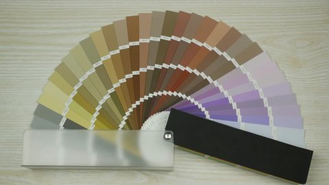 Sample colors catalogue. Shades Color Swatches. Colour swatches book. Stop motion