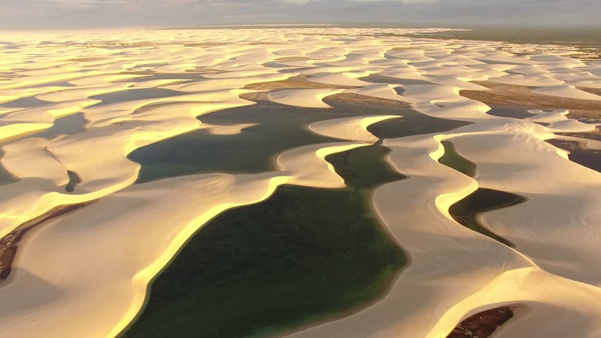 Aerial view of dunes and rainwater lakes at Lençóis Maranhenses National Park, Barreirinhas, Maranhão, Brazil Northeast Coast