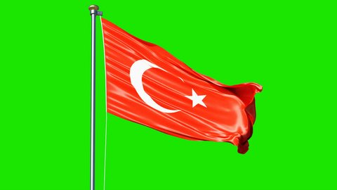 Waving Turkey flag isolated on green screen background video. Turkey flag video