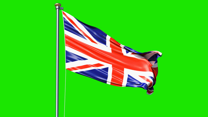 Waving Great Britain flag isolated on green screen background. Great Britain flag video