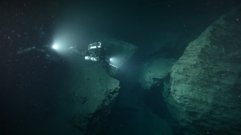 Diving in the Molnar Janos cave, Budapest, Hungary
