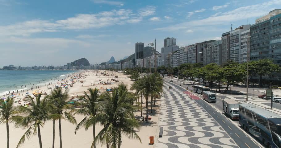 Flying above palm trees to reveal  Copacabana Beach in Rio de Janeiro, Brazil