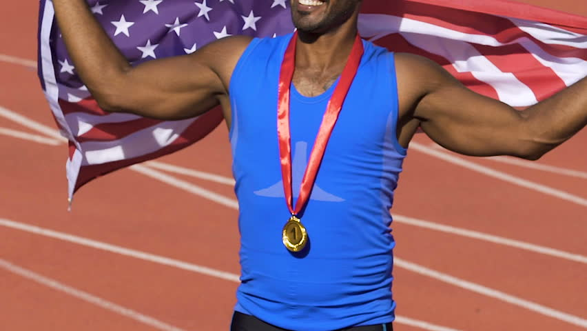 American sportsman sending air kisses to his fans and supporters, games winner | Shutterstock HD Video #1007644276