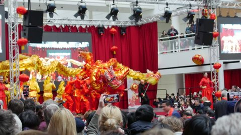 The Hague, South Holland/The Netherlands - 02/17/2018: Celebrations of the Chinese New Year inside the Town Hall in The Hague.