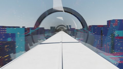 Concept of hyperloop. High-speed passenger train moves in a glass tunnel against a background of evening cityscape with lights, makes a right turn. Seamless animation, loopable element