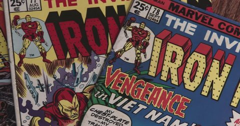 February 16, 2018, Bettendorf, Iowa, Iron Man Comic Books - Pan