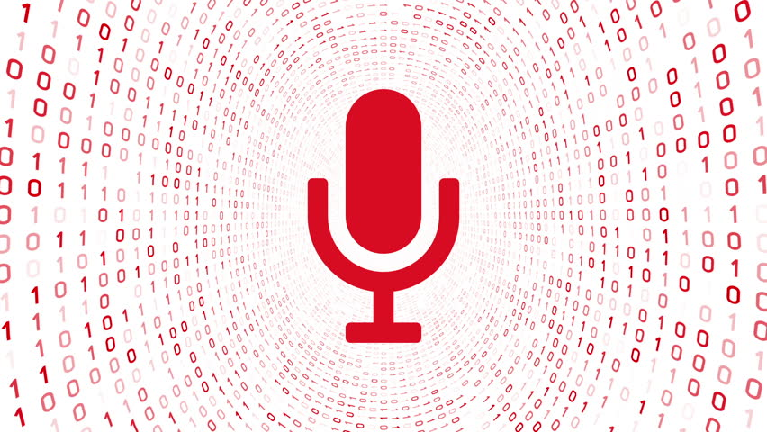 Red microphone icon form red binary tunnel on white background. Seamless loop.