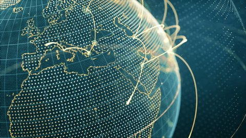 particle world with a growing global network - orange close-up loop