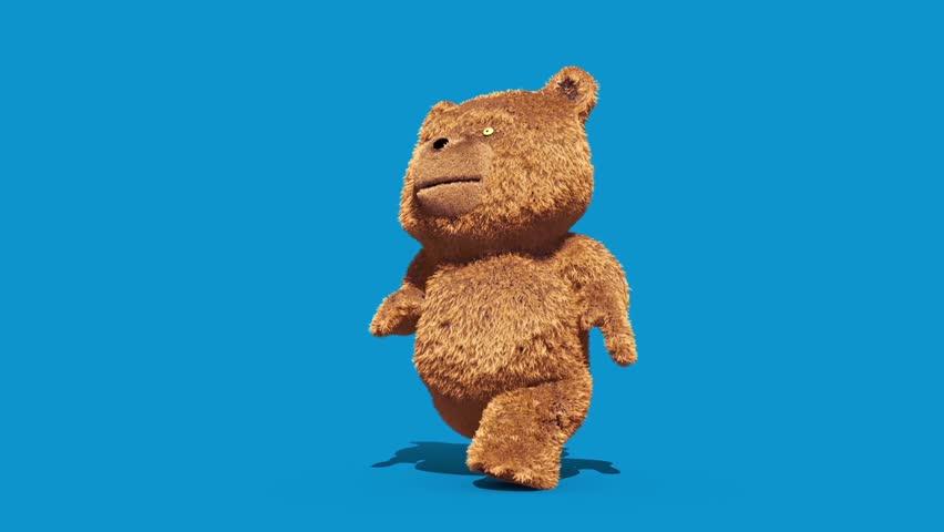 Teddy Bear Real Fur Runcycle Blue Screen Loop 3D Renderings Animations | Shutterstock HD Video #1007678650