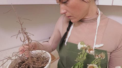 Woman with withered flowers in pots