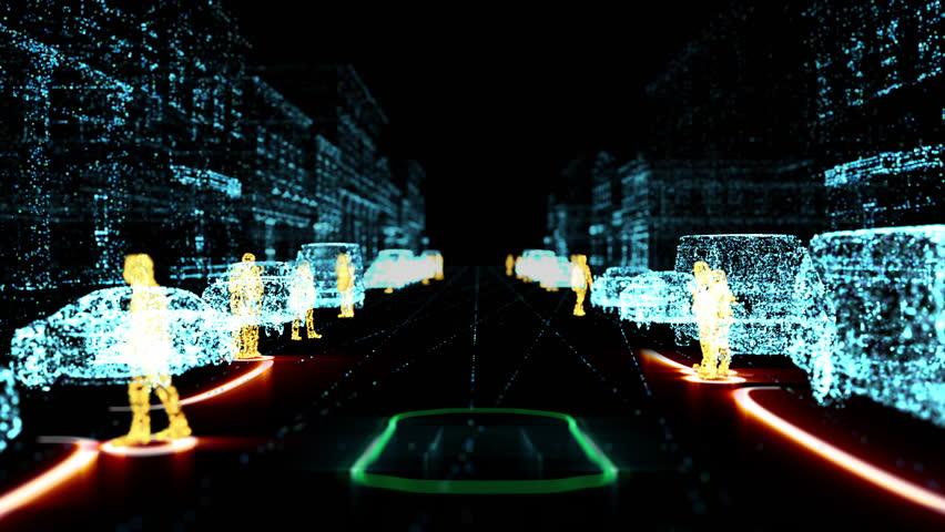 Autonomous electric car, Lidar radar assistance technology. 4K UHD Animation