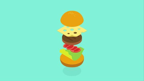 Cartoon burger 2d animation in isometric style fast food service concept cooking take away