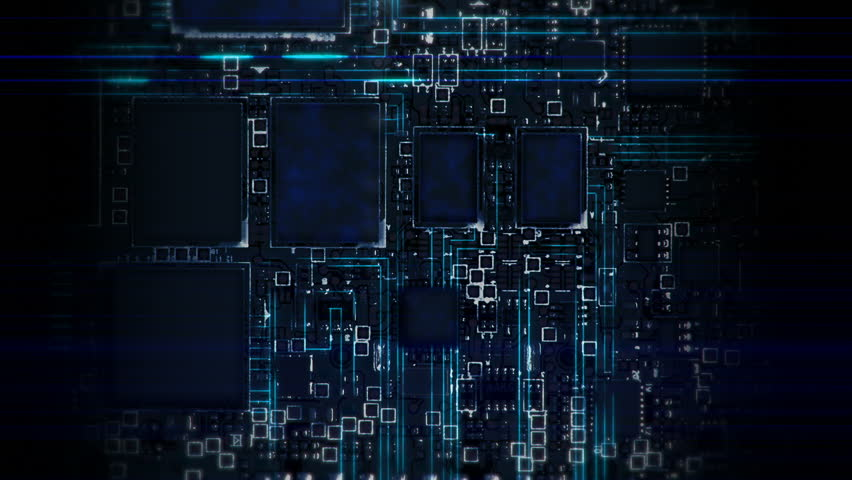 Data Streams Flowing on Circuit Board - Camera moves from top to buttom | Shutterstock HD Video #1007710240