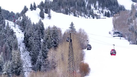 Aspen Mountain Ski and Snowboard Lift Gondola in Colorado Aerial