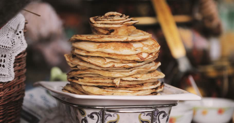 Dishes Of The Traditional Belarusian Cuisine - Pancakes. Attribute Of Traditional Folk Celebration Of Eastern Slavic National Traditional Holiday Maslenitsa. Winter Spring Holiday
