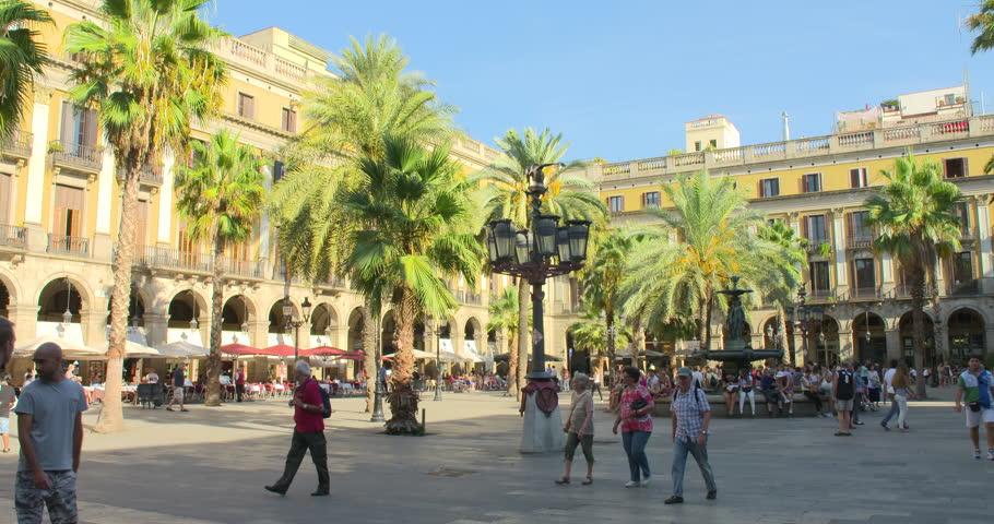 Stock Video Clip of SPAIN BARCELONA JULY 2017: Barcelona Plaza Real ...