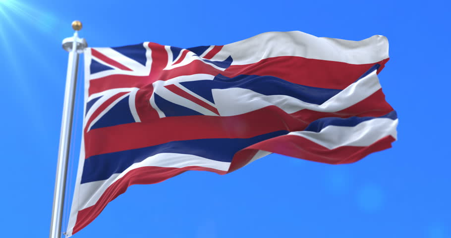 Flag of Hawaii state, region of the United States, waving at wind - loop