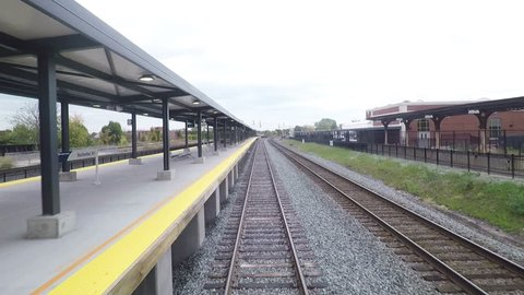 ROCHESTER, NEW YORK - OCTOBER 23:  A train departs Rochester Station in New York State on October 23, 2017 (hd, 25fps).