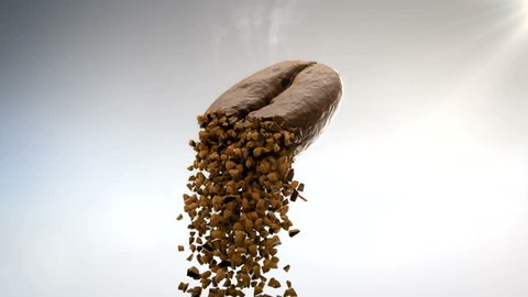 Closeup 3D CGI footage of hot roasted coffee bean flying in air and crumbling in pieces of instant coffee dust