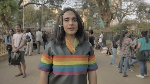 A well dressed trans woman during a LGBT or Gay pride parade in Mumbai, India (2018)