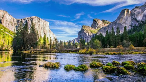 Time Lapse - Grey Clouds Moving Over Yosemite National Park Valley, California USA
