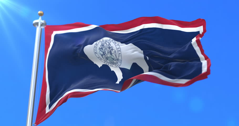 Flag of american state of Wyoming, region of the United States of America, waving at wind - loop