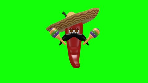 Mexican chili pepper shaking maracas - 3d looping animation on green screen chroma key background.