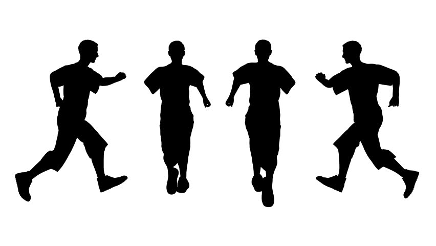 running man on the white background from different sides