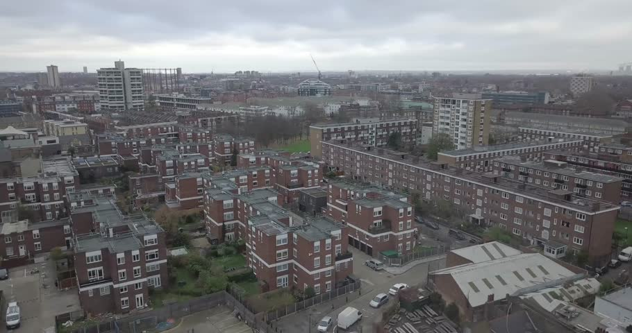 Brilliant Aerial Shot Panning Across East London Bethnal Green Road Houses Flats and Apartment Buildings Red Bricks